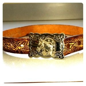 Double S embossed leather belt silvertone buckle